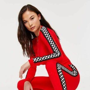 Ardene red checker print half zipper crop top